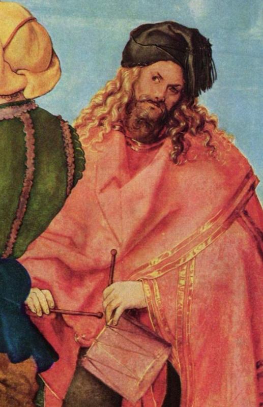 """1504 Автопортрет в виде музыканта в картине """"Алтарь Ябаха"""""""
