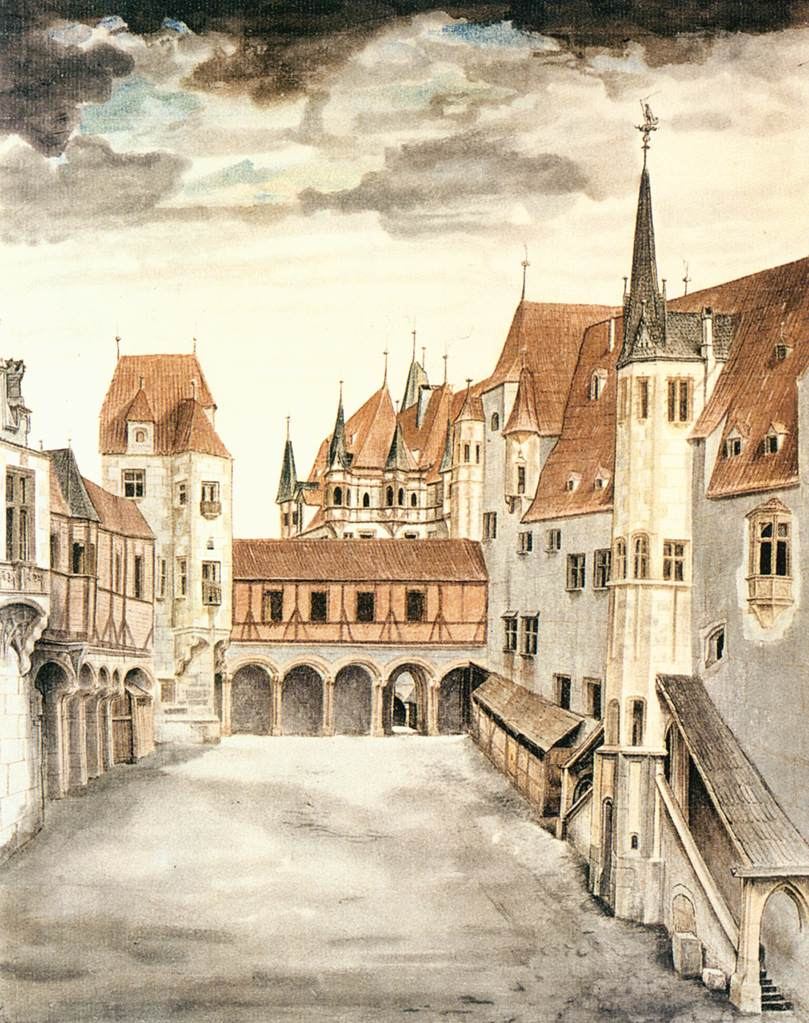 1494 Дворик замка в Инсбруке с облаками